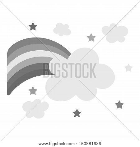 Rainbow icon monochrome. Single gay icon from the big minority, homosexual monochrome.