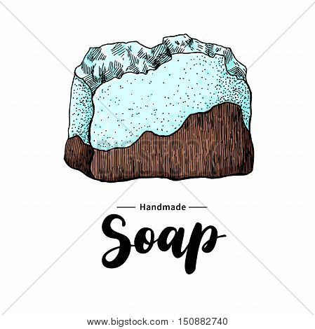 Handmade natural soap. Vector hand drawn illustration of organic cosmetic with lettering. Colorful artistic soap. Great for label, logo, banner, packaging, spa and body care promote