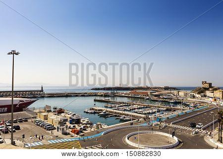 TARIFA, SPAIN - SEPTEMBER 23: Panoramic view of The Port of Tarifa (Spanish: Puerto de Tarifa) a commercial harbor for fishing and passenger boats on September 23, 2016.