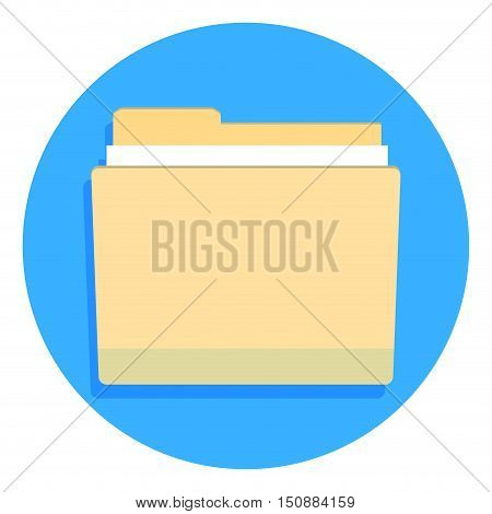 Yellow folder for documents. Folder icon file folder template vector illustration