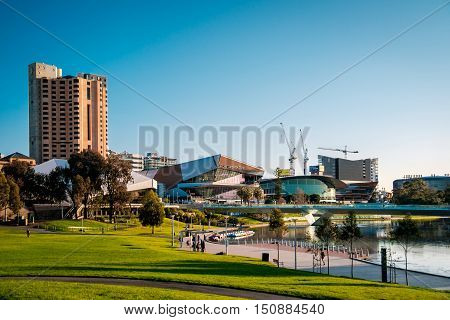 Adelaide Australia - September 11 2016: Intercontinental Hotel with convention centre in the city centre viewed across Elder Park on a bright day