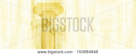 Silhouettes of big Greek columns on texture of a tree. 3D illustration