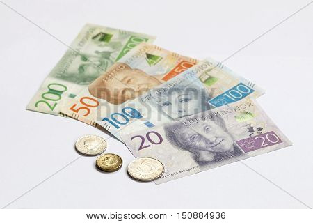 Swedish currency 20 50 100 200 SEK new layout 2016 laying on a table