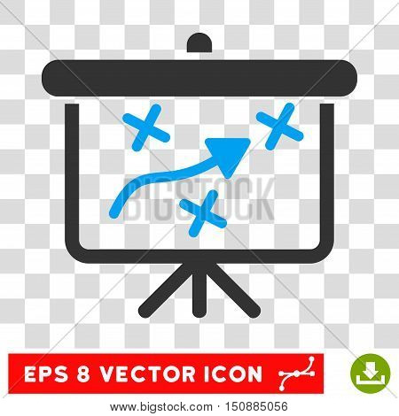 Vector Strategy Way Board EPS vector pictogram. Illustration style is flat iconic bicolor blue and gray symbol on a transparent background.