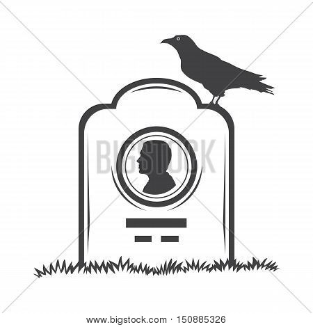 Vector isolated image of contour the grave gravestone monument depicting male profile. Headstone for print and web design funeral services. Burial and funeral . Crow, the raven