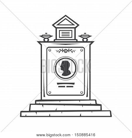 Vector isolated image of contour the grave gravestone monument depicting male profile. Headstone for print and web design funeral services. Burial and funeral