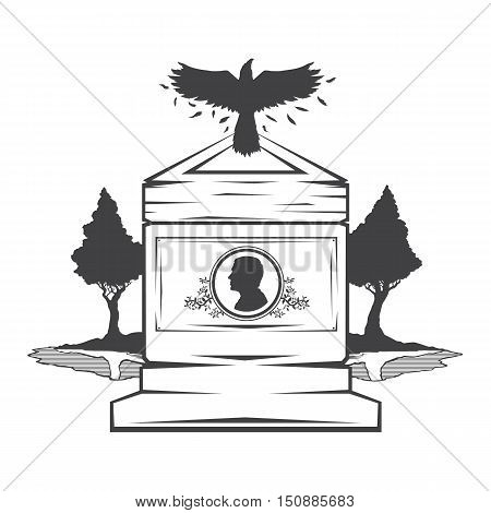 Vector isolated image of contour the grave gravestone monument depicting male profile. Headstone for print and web design funeral services. Burial and funeral . Crow, the raven.Pines tree.Lake or pond
