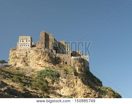View to Manakha fortress and old city Yemen