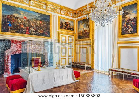 Versailles, France - July 02, 2016 : Royal Dining Salon In Chateau De Versailles. Especially Close C