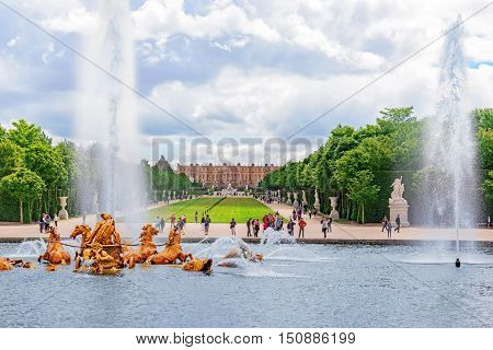 Versailles, France - 02, July 2016 : Fountain Of Apollo In A Beautful And Famous Gardens Of Versaill