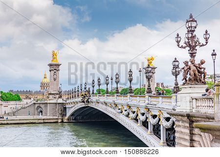 Paris, France- July 01, 2016 : Bridge Of Alexandre Iii Bridge (1896) Spanning The River Seine.