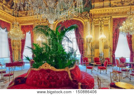 Paris, France - July 03, 2016 :  Apartments Of Napoleon Iii. Louvre Museum Is The Biggest Museum In