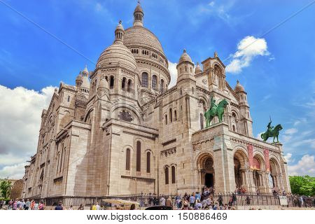 Paris, France - July 04, 2016 : Sacred Heart (also Known A Basilique Du Sacre Coeur) Is One Of The M