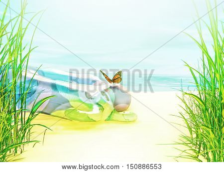 Summer beach. Rubber baby circle lies on the sand. Butterfly sitting on it. 3D illustration