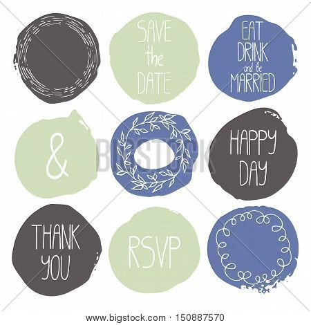 Set of 9 decorative wedding and romantic elements. Watercolour hand drawn circles with lettering decorative wreaths. Trendy patel colors. Grey, green and blue shapes with rough edges isolated on white
