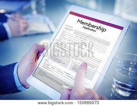 Membership Application Form Register Concept