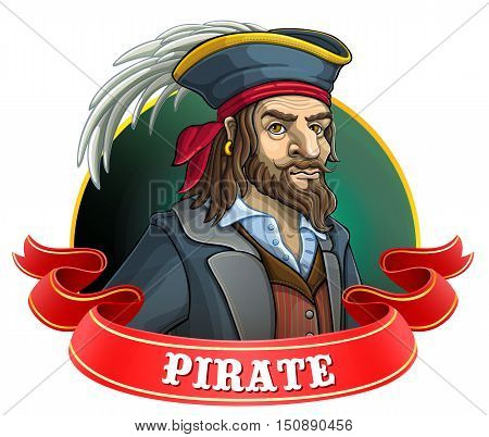Old pirate hat with a feather. Emblem with a red ribbon. Vector illustration.