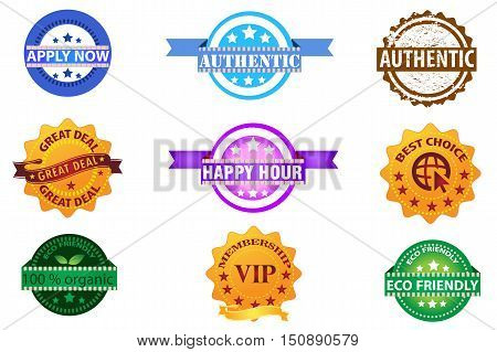 Stamps set vector collection isolated on white