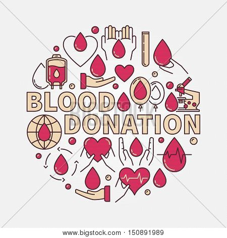 Blood Donation red flat illustration. Vector round colorful donate blood concept round sign