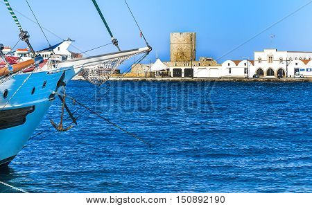 View of the historic Mandraki Harbour on the Island of Rhodes, Greece