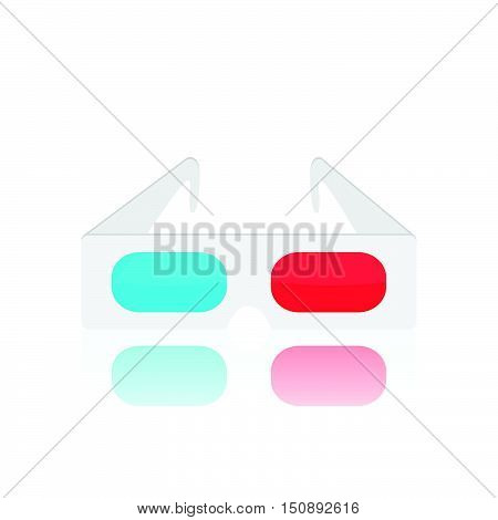 Illustration of vintage 3d glasses isolated on a white background.