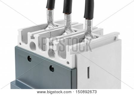 Cable Connection Circuit Breaker isolated on white background