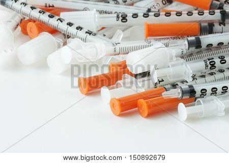 Used Syringes for insulin injection Medical Waste