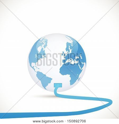 Illustration of an cord plugging into the earth isolated on a white background.
