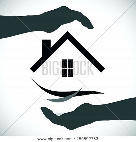 Concept image of an abstract home security design isolated on a white background.