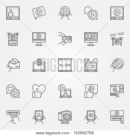 Vlog icons set. Vector linear video blogging symbols. Video blogger signs in thin line style