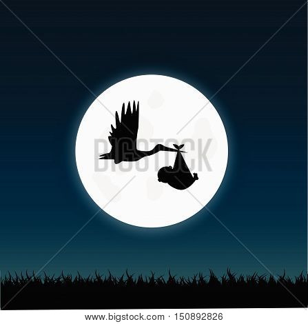 Illustration of a stork carrying a baby against a night sky background.