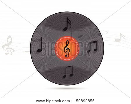 Illustration of a vinyl record and musical notes against a light background.