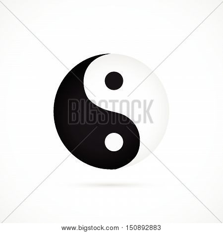 Illustration of an asian yin yang symbol isolated on a white background.