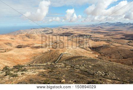 Volcanic Lanscape. Panoramic view on Fuerteventura from Mirador Morro Velosa Fuerteventura Canary Island Spain