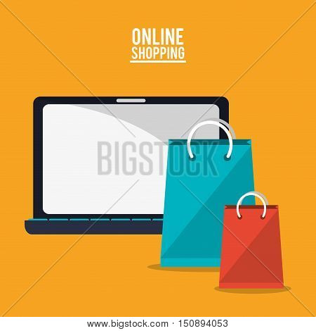 Laptop and bags icon. Shopping online ecommerce and media theme. Colorful design. Vector illustration