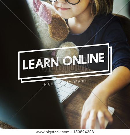Little Girl Learn Online Geeky Concept