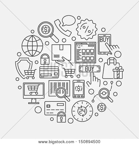 E-commerce round illustration. Vector thin line online shopping symbol made with ecommerce icons