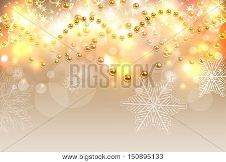 Christmas background gold lights, abstract vector illustration