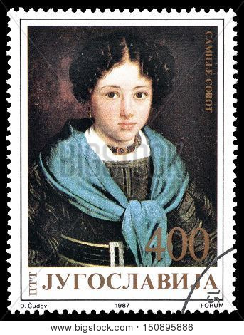 YUGOSLAVIA - CIRCA 1987 : Cancelled postage stamp printed by Yugoslavia, that shows Painting by Camile Corot.