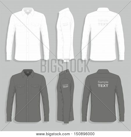 Set of black and white dress shirts with sample text space. Vector