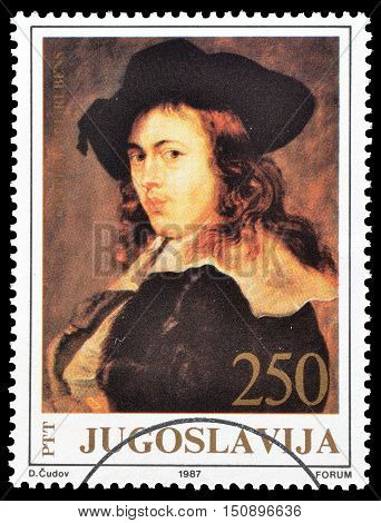 YUGOSLAVIA - CIRCA 1987 : Cancelled postage stamp printed by Yugoslavia, that shows Painting by Rubens.