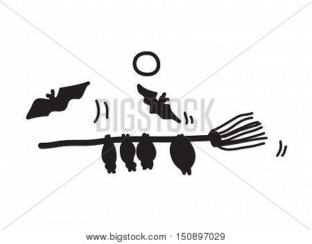 Halloween Bats Silhouette, a hand drawn vector doodle illustration of bats on a broomstick.