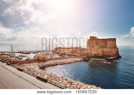 Naples Italy - scenic view of Castel dell'Ovo (Egg Castle)