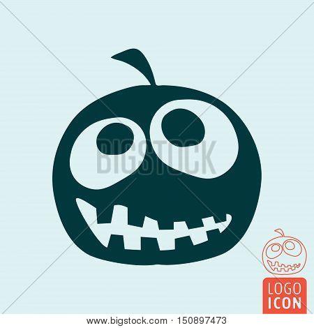 Halloween pumpkin icon. Symbol of halloween holiday. Vector illustration.