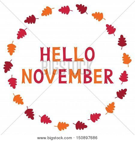Hello November card with autumn leaves, text in hand lettered font