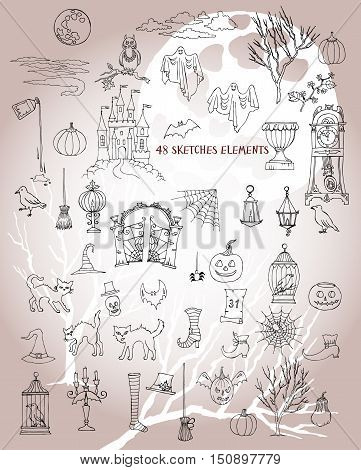 Halloween sketches. Set of  hand drawn elements. Can be used for backgrounds and cards of Halloween decorations. Pumpkin, cat, ghost, hours, castle, moon, autumn. Vector Illustration