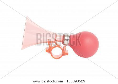 Red plastic air horn isolated on white background