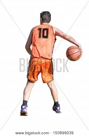 basketball player making a behind the back pass