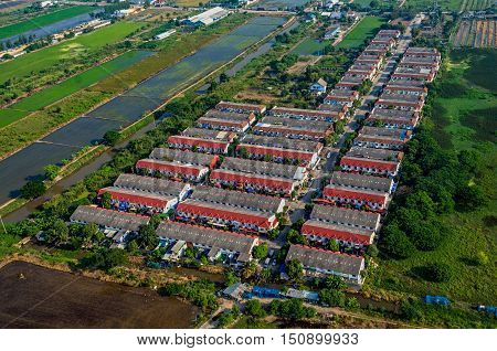 Farm land housing land development aerial photography