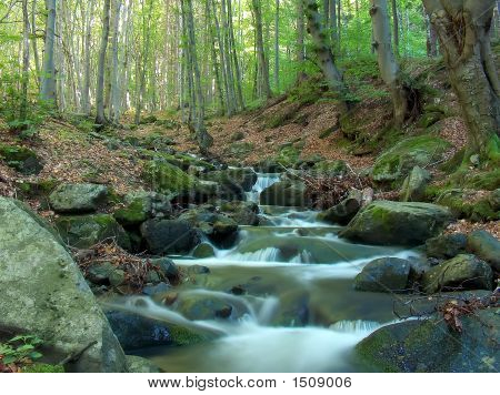Creamy Waterfall In The Forest In Macedonia
